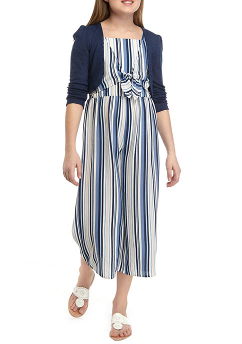 Beautees Girls 7-16 Navy Cardigan Over Blue Striped
