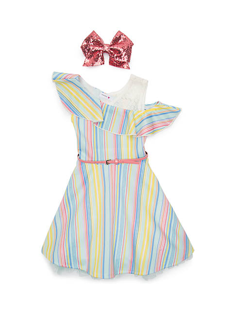 Beautees Girls 7-16 Stripe Skater Dress 687829d4a