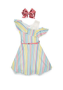 Beautees Girls 7-16 Stripe Skater Dress