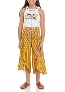Beautees Girls 7-16 Mustard Halter Jumpsuit