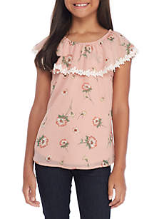 Girls 7-16 Blush Floral Lace Trim Round Neck Top