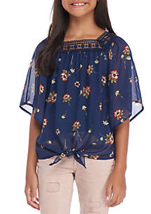 Girls 7-16 Floral Square Neck Tie Front Angel Sleeve Top
