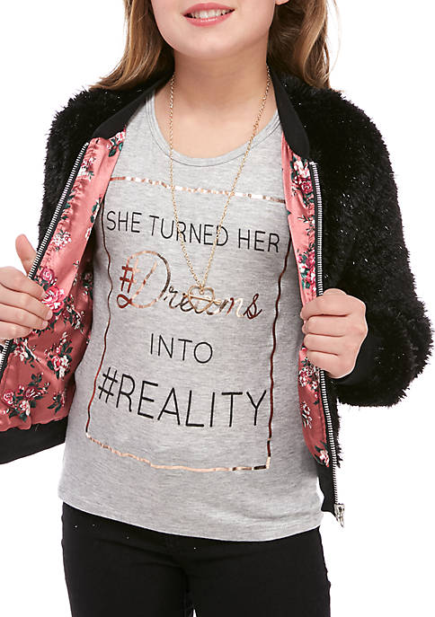 Beautees Girls 7-16 Faux Fur Bomber Jacket and