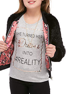Girls 7-16 Faux Fur Bomber Jacket and Graphic Tee 2Fer