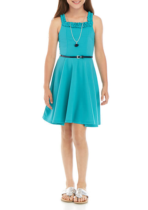 Beautees Girls 7-16 Turquoise Scuba Square Neck Dress