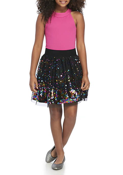 Beautees Girls 7-16 Bodysuit Sequin Skirt Set