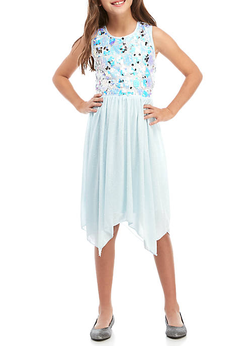 Girls 7-16 Ice Blue Sequin Special Occasion Dress