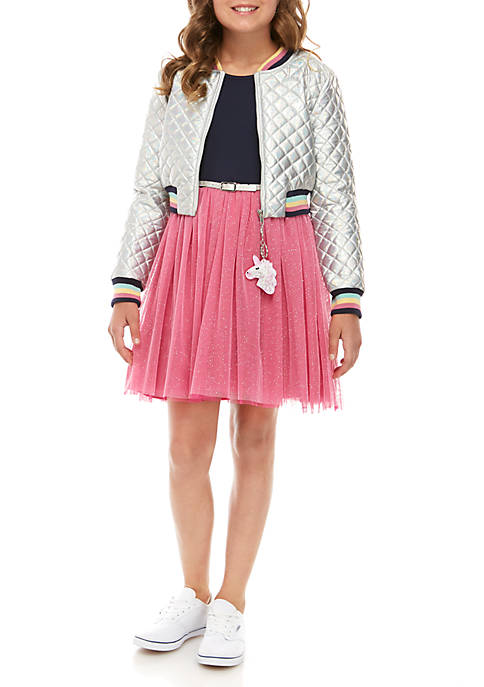 Beautees Girls 7-16 Iridescent Bomber Jacket and Stripe
