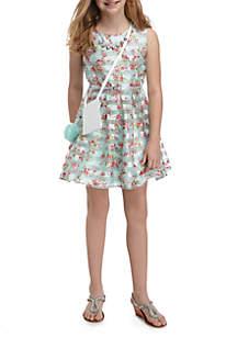 Striped Floral Dress Girls 7-16
