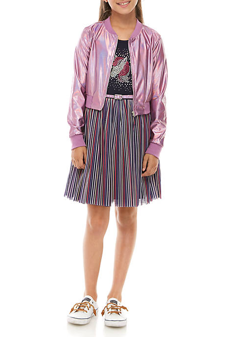 Beautees Girls 7-16 Bomber Jacket and Skater Dress