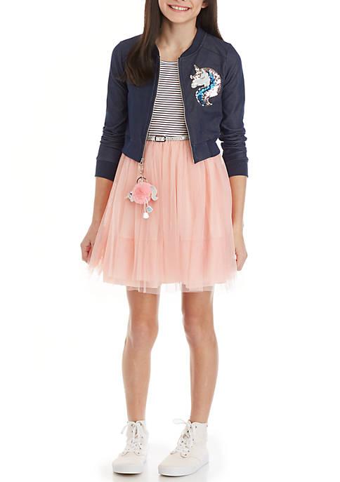 Beautees Girls 7-16 Navy Unicorn Moto Jacket Pink