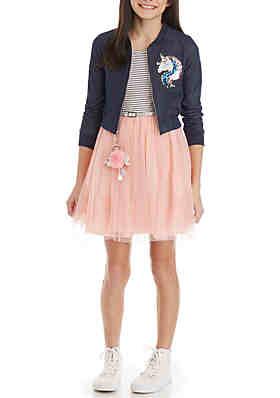 1d2b13f43e826 Beautees Girls 7-16 Navy Unicorn Moto Jacket Pink Dress Skirt ...
