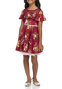 Girls 7-16 Wine Floral Skater JoJo Bow Dress