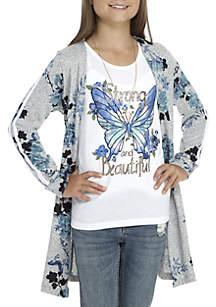 Girls 7-16 Blue Floral 2Fer Duster with Necklace Set