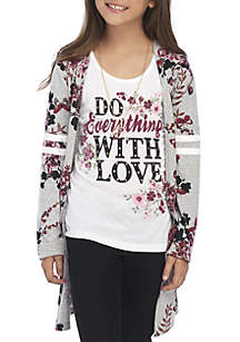 Girls 7-16 Wine Floral 2Fer Knit Duster with Necklace