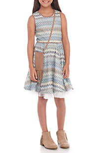 Girls 7-16 Indigo Missoni Stitch Dress