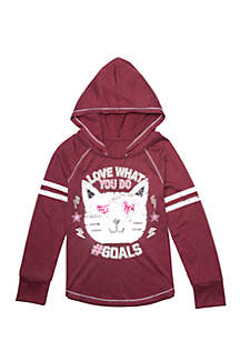 Girls 7-16 Long Sleeve Sequin Cat Hooded Tee