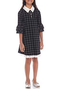 Girls 7-16 Grid Pearl Shirt Dress