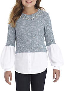 Girls 7-16 Sweater Blouse