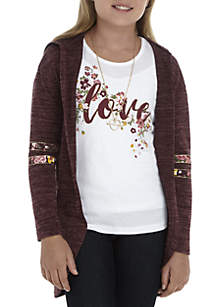 Girls 7-16 Wine Hooded Duster with Necklace Set