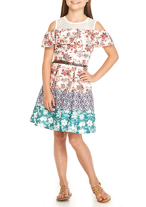 Beautees Girls 7-16 Border Print Skater Dress