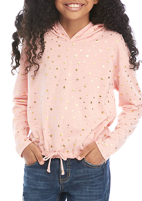 Beautees Girls 7-16 Blush Stars Printed Hoodie