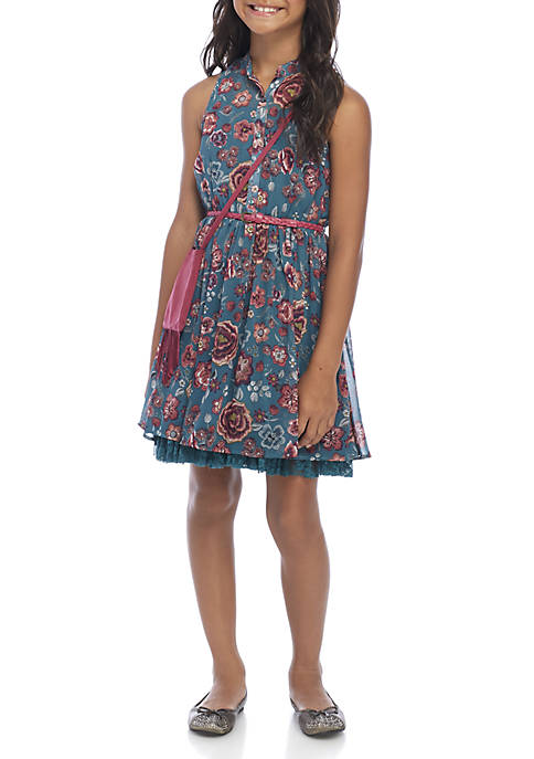 Beautees Girls 7-16 Teal Floral Belted Shirt Dress