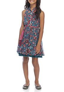 Girls 7-16 Teal Floral Belted Shirt Dress