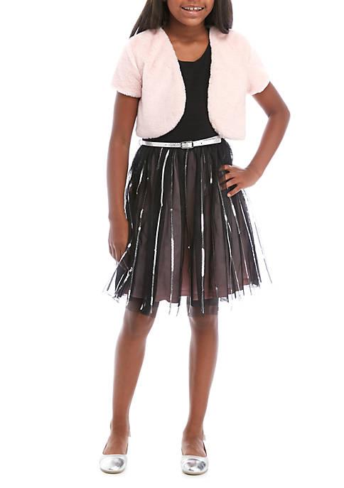Beautees Girls 7-16 Pink Fur Shrug Over Black