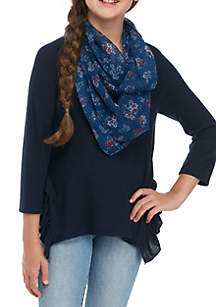 Girls 7-16 Long Sleeve Side Ruffle Solid Scarf Top