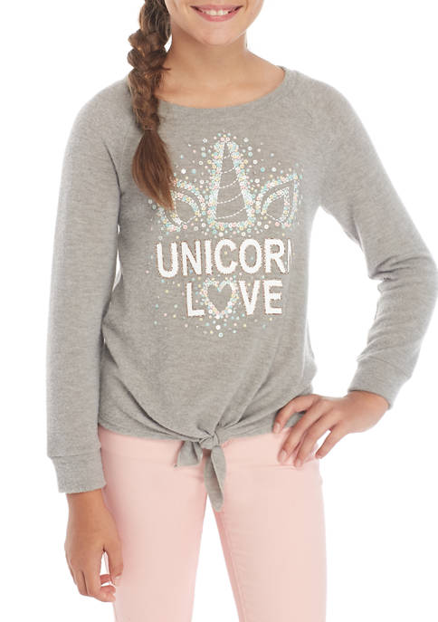 Girls 7-16 Unicorn Love Sequin Tie Front T-Shirt