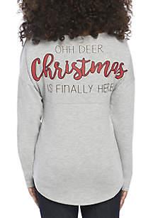 Girls 7-16 Oh Deer Christmas Is Here Sweeper Tee