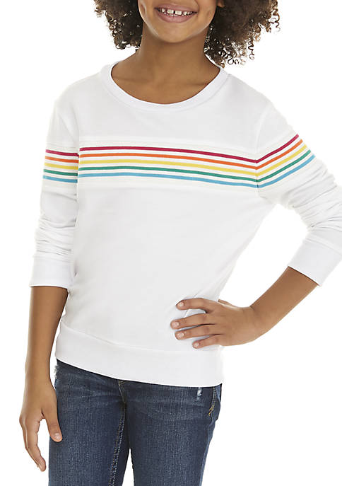 Beautees Girls 7-16 Rainbow Long Sleeve Top