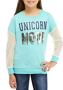 Beautees Girls 7-16 Unicorn Mode Colorblock Pullover
