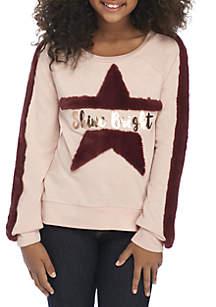 Girls 7-16 Shine Bright Blush Fuzzy Sweatshirt