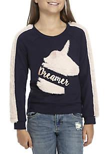 Girls 7-16 Dreamer Navy Unicorn Fuzzy Sleeve Sweatshirt