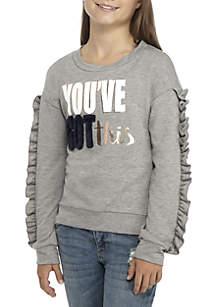 Girls 7-16 You Got This Heather Grey Ruffle Sleeve Sweatshirt