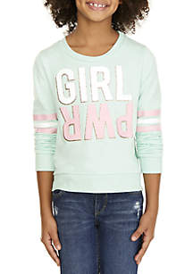 Girls 7-16 Girl Power French Terry Top with Beanie Set