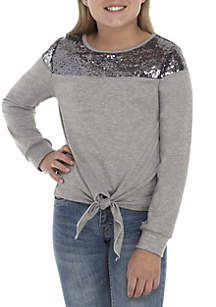Girls 7-16 Long Sleeve Sequin Tie Front Top