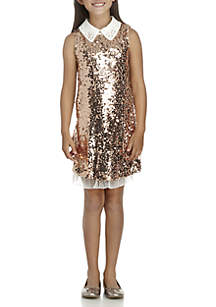 Girls 7-16 Rose Gold Sequin Collar Dress