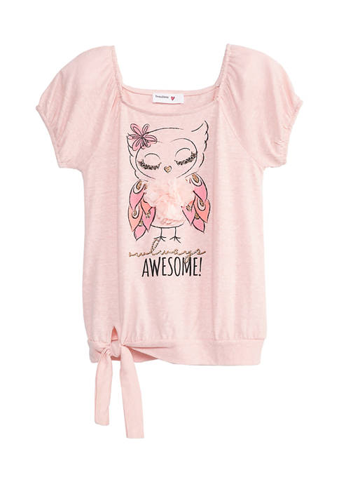 Beautees Girls 7-16 Short Sleeve Awesome Owl T-Shirt