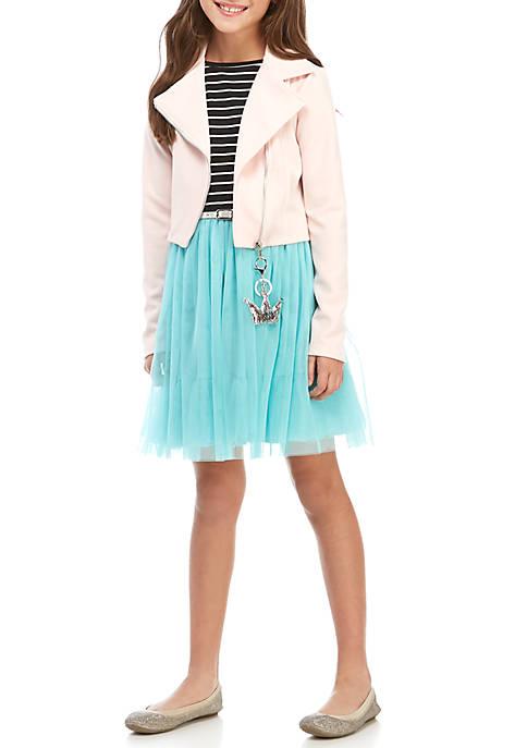 Beautees Girls 7-16 Blush Turquoise Moto Black and