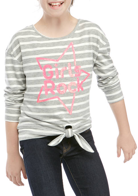 Girls 7-16 Long Sleeve Stripe Girls Rock T-Shirt
