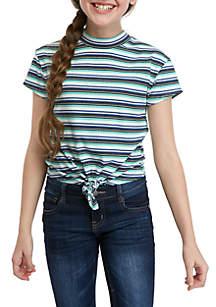 Beautees Girls 7-16 Short Sleeve Blue Stripe Rib Knit Tie Front Tee