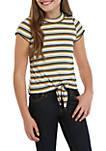 Girls 7-16 Short Sleeve Gold Stripe Rib Knit Tie Front Tee
