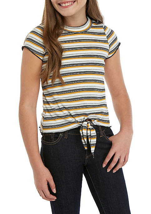 Beautees Girls 7-16 Short Sleeve Gold Stripe Rib