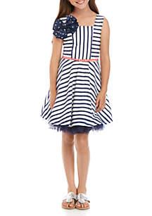 Beautees Girls 7-16 Navy White Stripe Bow Dress