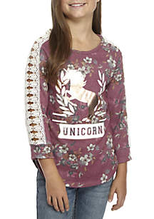 Girls 7-16 Cage Silver Berry Floral Unicorn Top