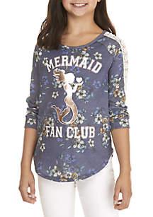 Girls 7-16 Cage Long Sleeve Mermaid Foil Top
