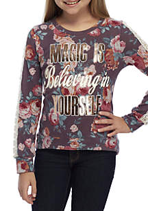 Girls 7-16 Cage Sleeve Floral Magic Sweatshirt